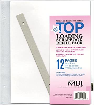 MCS MBI 8.5x11 Inch Scrapbook Expansion Page Refills, 6 Count (872814)