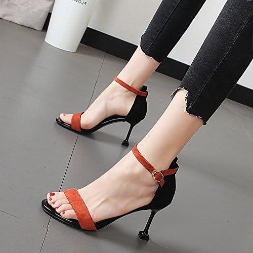 Xue Qiqi Bien con zapatos de mujer fashion deletrear los zapatos de tacón alto Color correa ranurada sandalias mujer salvaje