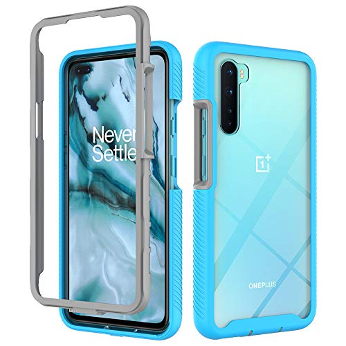 OnePlus Nord Case, EabHulie Dual Layer Transparent Back Rugged Bumper No Slip Shockproof Full Body Protective Case Cover for OnePlus Nord Blue