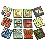 Magnetic Board Games for Travel – Set of 12 - 5 Inch Magnetic Board Games from Playko – Indoor Games for Adults Ideas for Kids Aged 6+ – Individually Wrapped Travel Board Games