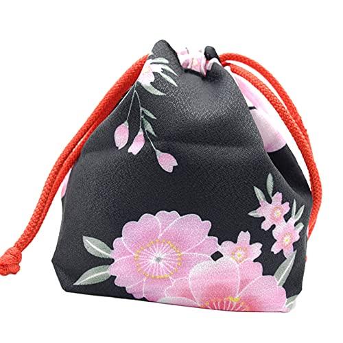 Perfeclan Borsa Portatile Giapponese con Coulisse Donne Ragazze Yukata Robe Kimono Portachiavi Portamonete Portafoglio Pranzo a casa Bento Box Cibo Vario Pouch - Vino
