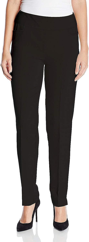 SLIM-SATION Women's Elastic Waist Twill Slim Leg Dress Pant W/FRNT Slash Pockets