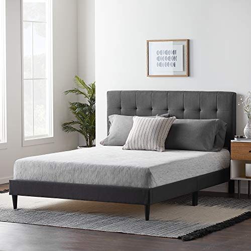LUCID Upholstered Bed withSquare TuftedHeadboard-Linen Inspired Fabric –Sturdy Wood Build –No Box Spring Required Platform, Twin, Cobalt