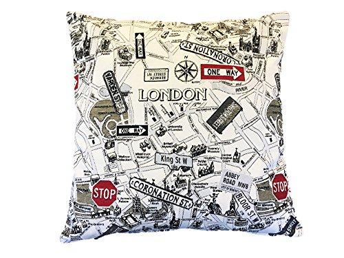 Textiles el Cid London Funda de Cojín, Algodón-Poliéster-Acrílico, Beige y Negro, 50x50x1 cm