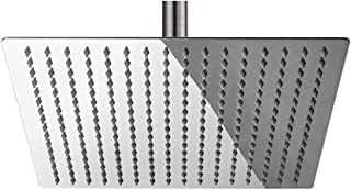 """BESy 12 Inch Rain Shower Head, 12"""" Square Rainfall & High Pressure Stainless Steel Bath Shower Head, 1/16"""" Ultra Thin, Waterfall Full Body Coverage with Silicone Nozzle, Polished Chrome"""
