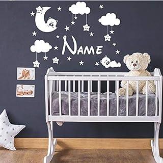 YuanMinglu Lindo Oso y Luna vivero Pegatinas de Pared Personalizadas decoración de la habitación de los niños Cualquier Nombre Luna y Estrellas Pegatina 63 cm x 46.5 cm