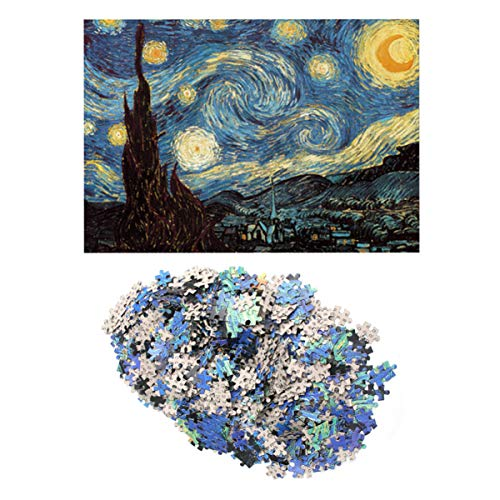 TOYANDONA Puzzle per Adulti 1000 Pezzi Puzzle per Adulti Notte Stellata Jigsaw Van Gogh Puzzle Colorato Pittura a Olio Gioco Giochi Interessanti per Bambini Adulti (Multicolore)