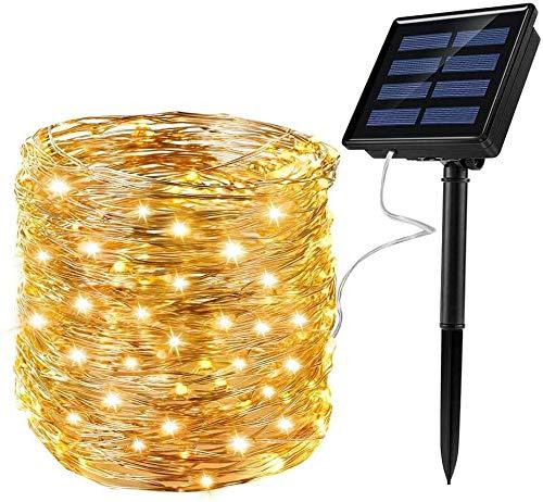 Mafiti Guirnalda de luces exterior solar guirnalda luminosa de exterior guinalda luces LED para Navidad, fiestas y festivales