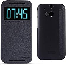 Nillkin Sparkle Series HTC New One M8 View Window Design Flip Leather Cover Case Include Calans Screen Protector -(Black)