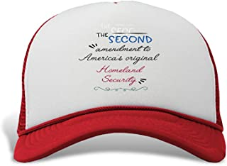 Trucker Hat The Second Amendment America's Original Homeland Security. Polyester Baseball Mesh Cap Snaps Red One Size