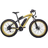 Shengmilo-MX02 26 Pulgadas neumático Gordo Bicicleta eléctrica 1000 W Beach Cruiser Hombres Mujeres Montaña e-Bike Pedal Assist 48V 17AH batería (Amarillo (una batería), China Motor 1000w)