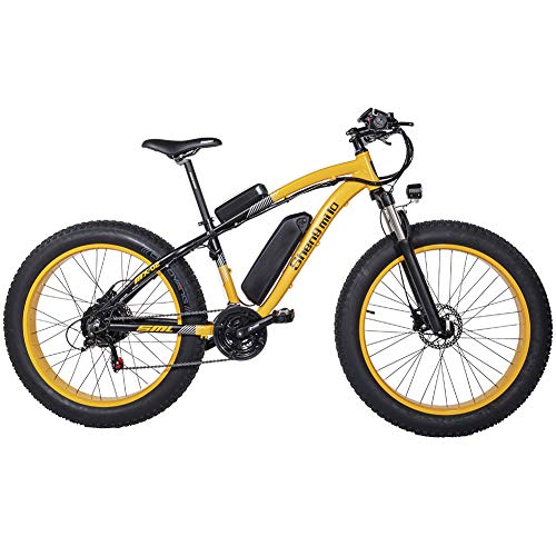 Shengmilo-MX02 26inch Fat Tire Electric Bike 1000W / 500W Beach Cruiser Mens Women Mountain e-Bike Pedal Assist 48V (Gelb (eine Batterie), 1000w China Motor)