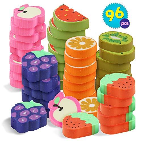 96 stuks rubberen gummen | 3,5x2cm Fruit Ontwerp Niet Giftige Mini Potloodgum | Traktatie kinderverjaardag, Uitdeelzakjes Beloning School| Pinata-vullers Sinterklaas | Halloween Trick or Treat