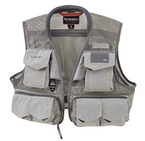 Simms Headwaters Pro Mesh Fishing Vest, 20 Pockets & Rod Holder, Boulder, XL