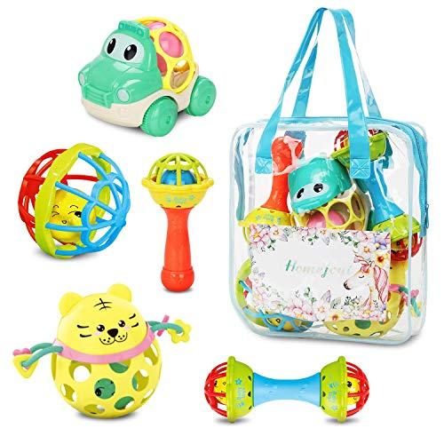 Homejoyi ラトル ガラガラ がらがらおもちゃ ハンドラトルゼント 5PCS ラトル おもちゃ 赤ちゃんのガラガラ...