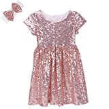 Cilucu Flower Girl Dress Baby Toddlers Sequin Dress Kids Party Dress Bridesmaid Wedding Gown Birthday Dress Rose Gold/Off White 3T-4T