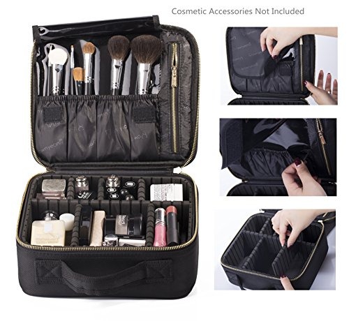 ROWNYEON Mini Makeup Artist Train Case/Travel Makeup Case/Makeup Organizer Bag with Portable EVA and freely combined Adjustable Black(Small)