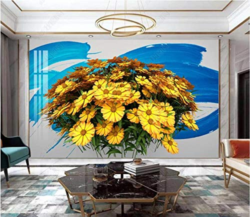 Papel Pintado 3D Planta de pétalo de flor amarilla Fotomurales Pared Dormitorio Papel Pintado Fotográfico Mural Decoración