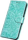Surakey pour Coque Huawei Honor 10 Etui Protection Housse en Cuir PU Pochette Portefeuille,Madala Fleur Motif Housse Coque Etui à Rabat en Cuir PU Flip Case Cover Magnétique Wallet Coque,Vert