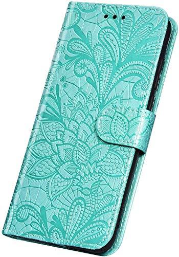 Surakey - Funda para Samsung Galaxy A20e (piel sintética, función atril, tarjetero, función atril), diseño de flores, verde