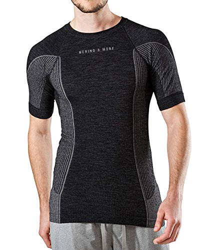 Merino & More Merino Shirt Herren - Premium Funktionsunterwäsche aus hochwertiger Merinowolle - Sport - Funktionsshirt - Kurzarm schwarz-grau Gr. XL