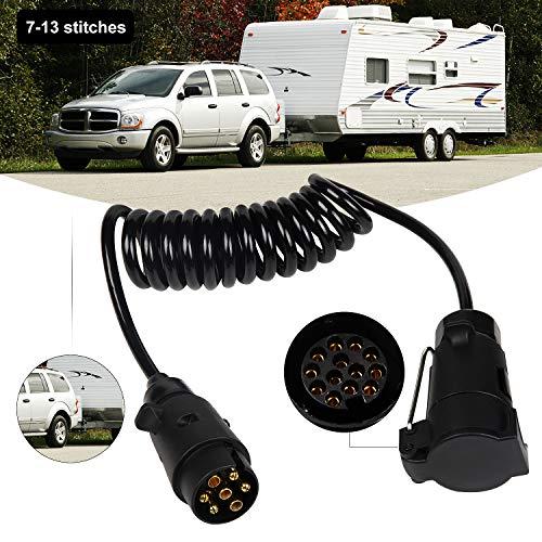 EXLECO Anhänger Verlängerung Kabel Anhängerkabel Adapter7-13 Polig 2 Meter Spiralkabel Auto Anhänger Wohnwagen