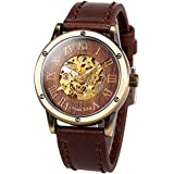 ManChDa Mens Wrist Watch Fashion Brown Leather Band Special Burlywood dial Automatic Mechanical Wrist Watch for Men + Gift Box