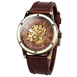 ManChDa Mens Wrist Watch Fashion Brown Leather Band Special Burlywood dial Automatic Mechanical...