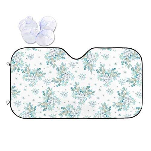GAHAHA Parasol para parabrisas de coche, diseño de flores blancas, color verde azulado, para mantener su asiento fresco, camiones, parabrisas, protector de visera solar resistente al calor