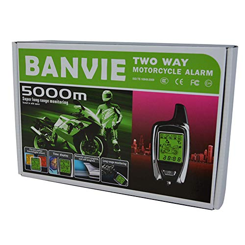 BANVIE 2 Way Motorcycle Security Alarm System with Remote Engine Start (100% Original OEM from SPY Motorcycle Alarm Factory)