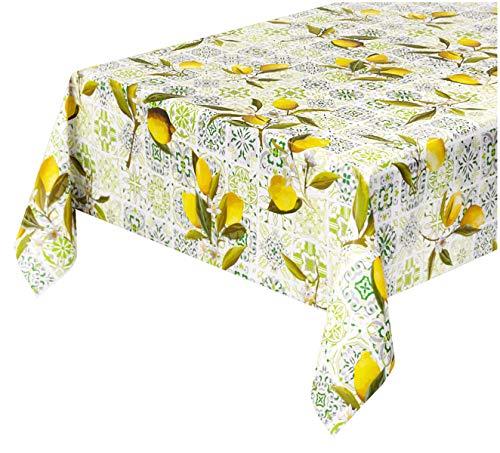 EMMEVI - Mantel Antimanchas de Hule malolica, Limones plastificados, Reverso Afelpado, 12 tamaños, Cubre Mesa de Cocina a Medida, Mod. Favola 310