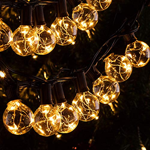 Quntis IP65 11,7M Guirnalda Luces Exterior G40 30+3 Bombillas E12 3V Súper ahorra energía, 155 LED Resistente al agua, Cadena de Luz para Jardín Patio Bar Cafetería Fiesta Navidad (Blanco Cálido)