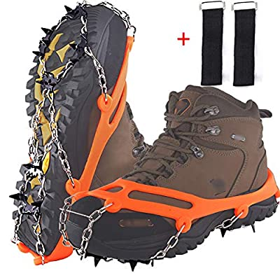 DBlosp Walk Traction Cleats Heavy Duty Trail Spikes Ice Snow Grips Anti Slip Stainless Steel Spikes Footwear Crampons for Walking, Jogging, or Hiking on Snow & Ice (Orange Size:L)