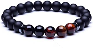 Men Lava Stone Natural Stone Beads Strand Bracelet Crown Skull Pendant Charms Bracelet Jewelry