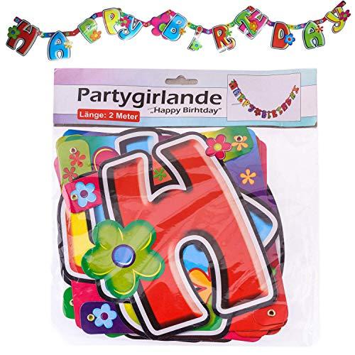 Kleurrijke Party slinger Happy Birthday 2 meter lang verjaardag decoratie