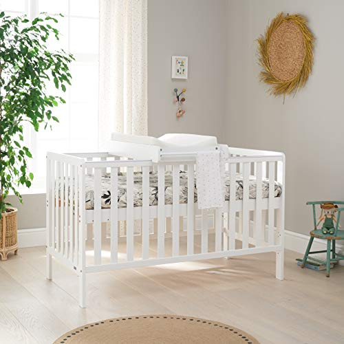 Malmo Wooden Cot Bed & Cot Top Changer (Tutti Bambini) - 3 in 1 Convertible Baby Cot Bed, Toddler Bed and Matching Cot Top Baby Changer (White)