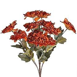 powerful AILANDA 4PCS Silk Flower Vintage Dahlia Bouquet Artificial Flower Stem Autumn Orange Fake…