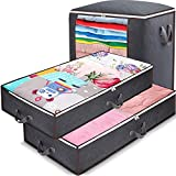 Anyoneer Under Bed Storage Containers with Stainless Steel Zipper, Extra Large, Thick Fabric,Under-bed Storage Bags Organizer with Clear Windows & Reinforced Handles for Comforters, Bedding, Blankets and Clothing, Wrapping Paper, 3 Pack, Gray
