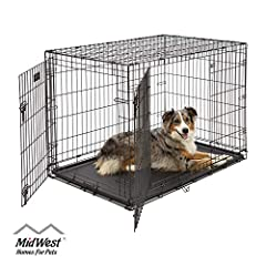 ICrate the 'All Inclusive Dog Crate' Includes Free divider panel, durable dog tray, carrying handle, 4 'roller' feet to protect floors & midwest quality guarantee 1 year warranty Large double door folding dog crate ideal for dogs w/ adult weight of 7...
