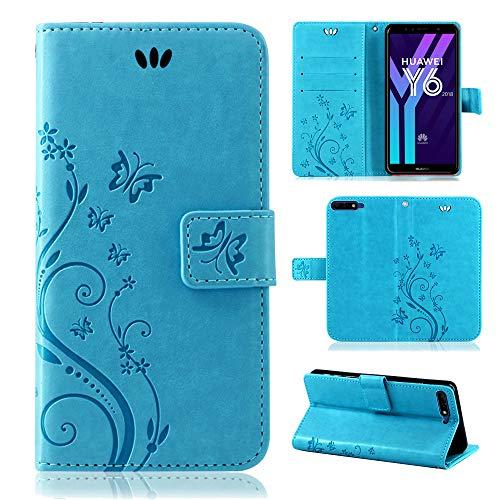 betterfon | Flower Case Handytasche Schutzhülle Blumen Klapptasche Handyhülle Handy Schale für Huawei Y6 2018 Blau