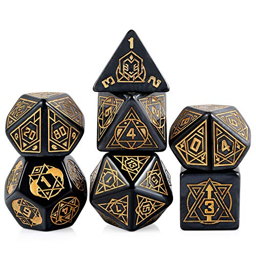 25mm Giant Polyhedral Dice Set D&D, DNDND Constellation Patterns DND Dice with Metal Tin for Role Playing Game Dungeons and Dragons (Black with Gold Number)
