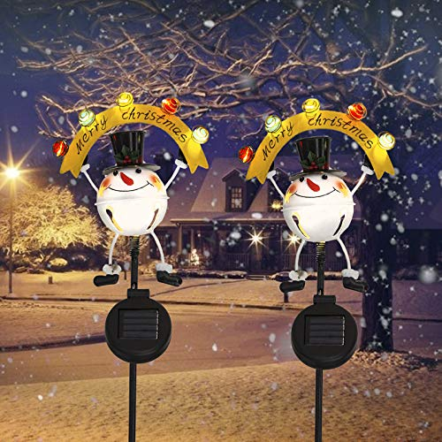 Solar Christmas Decorations Outdoor - 2 Pack Snowman Solar Pathway Lights Waterproof Christmas Solar Stakes Lights for Patio,Lawn,Yard Holiday Decor (Snowman)