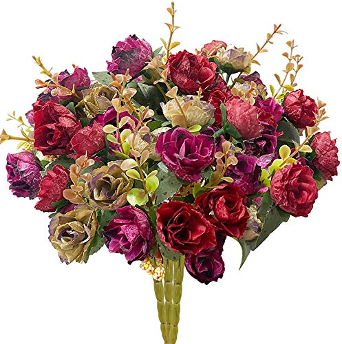 TURNMEON 3 Bunch Flower Bouquets Artificial Flowers Fake Flowers for Home Table Fall Decors, Bridal Bouquet Silk Flowers Fake Flowers for Wedding Decoration Autumn Decoration Centerpiece(Dark red)