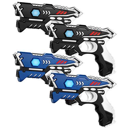 KidsFun Lasertag Set: 4 Laserpistolen - Laser Tag Spiel Set für Kinder Ab 7 Jahren
