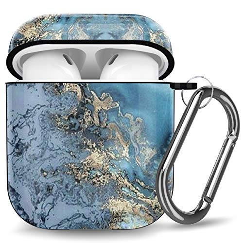 Ouwegaga Kompatibel mit Airpods Hülle, Marmor Bedruckt Stoßfeste Schutzhülle TPU Hülle Kompatibel mit Airpods 2 1, Unterstützt Kabelloses Laden, Marmor Blauer