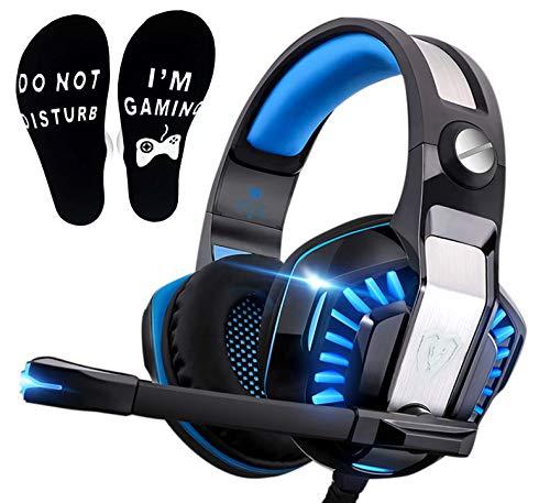 PS4 Gaming Headset für PC, PS5, Xbox One,Over-Ear Headphone mit LED Lichter, Playstation 4 Gamer Kopfhörer mit Rauschunterdrückung Mikrofon für Nintendo Switch Laptop