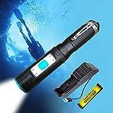 LUXNOVAQ Tauchlampe 1200 Lumen XM-L2 LED Unterwasser Taschenlampe, Kleine Tauchen Taschenlampe...