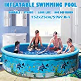 Voberry Swimming Pools, Inflatable Family Swim Play Center Pool, 59 inches Blow Up Pool Summer Water Fun with Inflatable Soft Floor for Family, Garden, Outdoor, Backyard (59 inches)