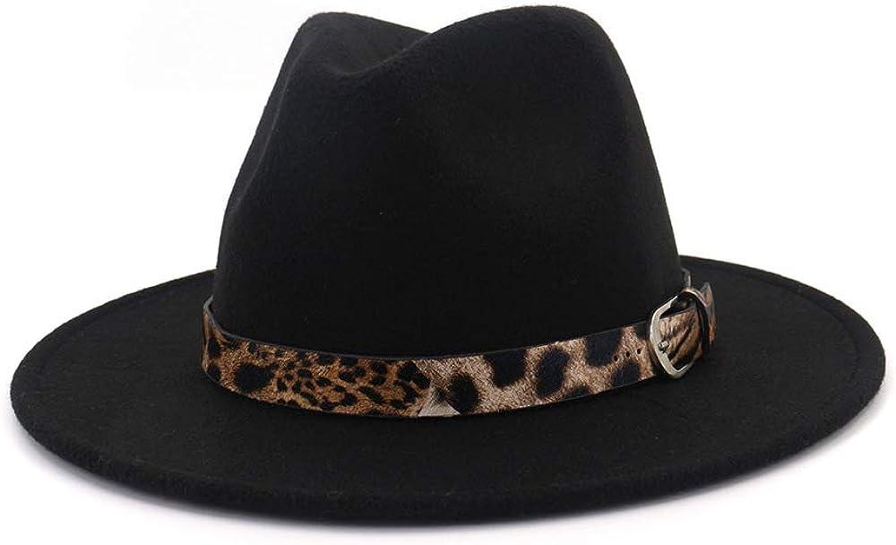 Women's Leopard Felt Popular standard Panama Hats Classic with Fedora Fixed price for sale Brim Wide B