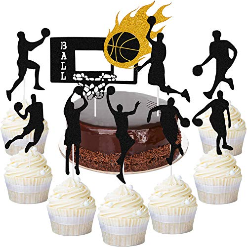 50 Pieces Basketball Player Cupcake Toppers Basketball Cake Toppers for Birthday Party Baby Shower Basketball Theme Party Supplies